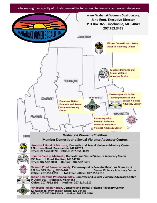 Map of Wabanaki Women's Coalition Member Domestic and Sexual Violence Advocacy Centers